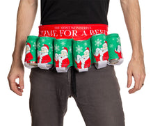 "Load image into Gallery viewer, Novelty Beverage Holder Beer Belt - ""The Most Wonderful Time For A Beer""  Man Wearing Beer Belt Around Waist"