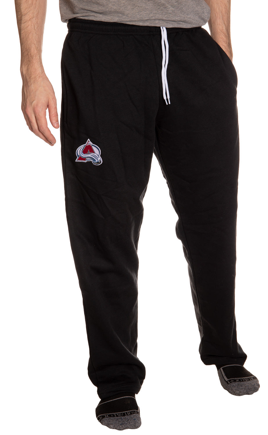 Colorado Avalanche Embroidered Logo Sweatpants for Men Front View, Hands in Side Pockets.