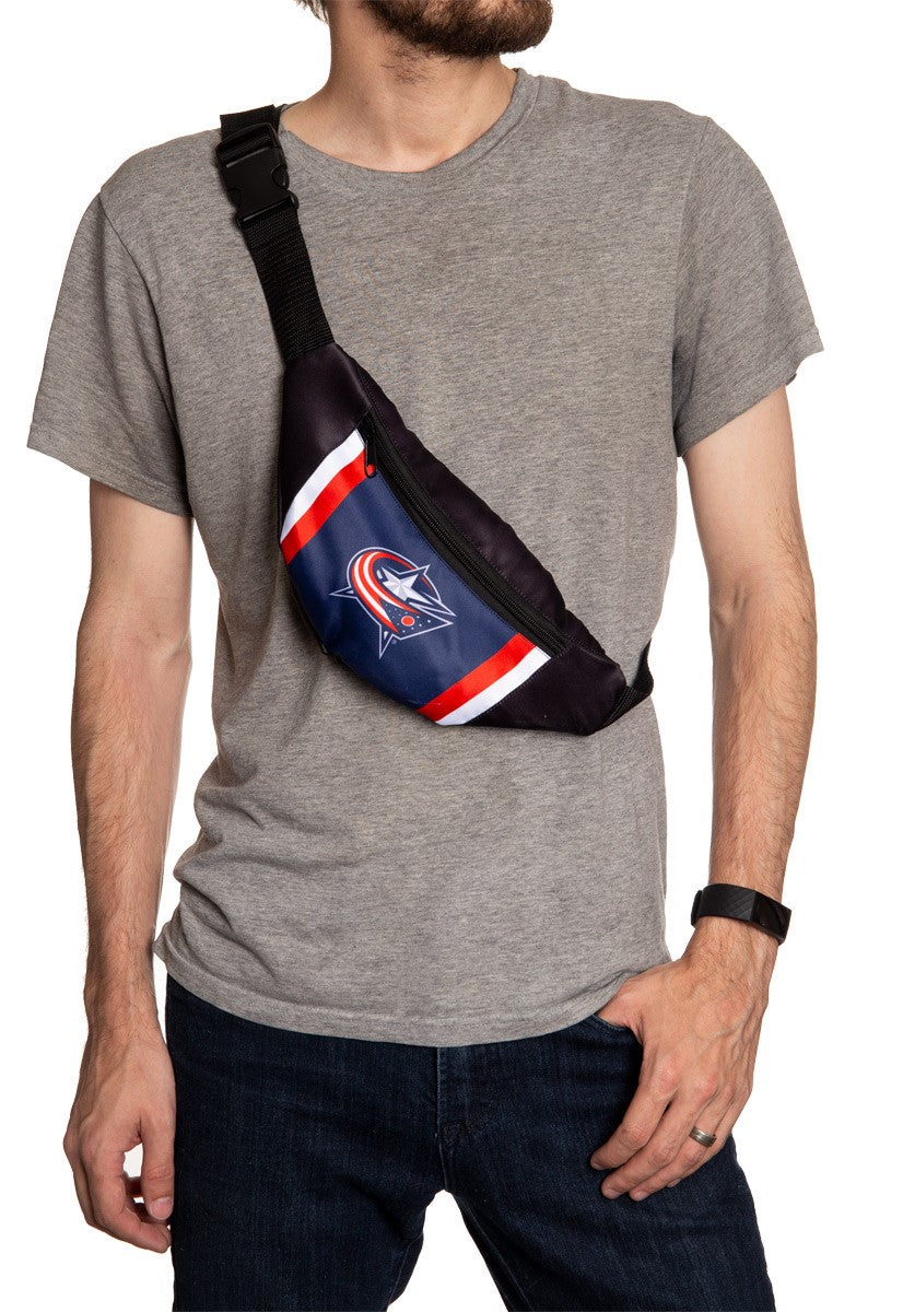 NHL Unisex Adjustable Fanny Pack- Columbus Blue Jackets Crossbody