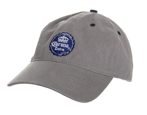 Corona Extra Embroidered Blue Bottle Cap On Grey Cotton Hat.