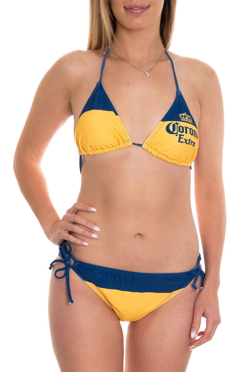 Ladies Corona Bikini- Corona Extra (Blue & Gold) Woman Wearing Bikini Full Length