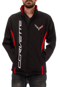 Chevrolet Corvette Men's Jacket- Black Front With Corvette Wording Down The Front On One Side and Breast Crest of fleur-de-lis On Other Side