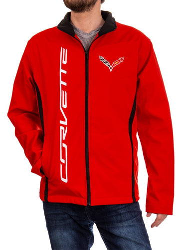 Chevrolet Corvette Men's Jacket- Red Front With Logo and Corvette Written
