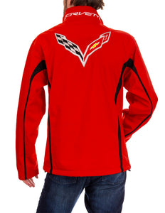 Chevrolet Corvette Men's Jacket- Red Back With Logo