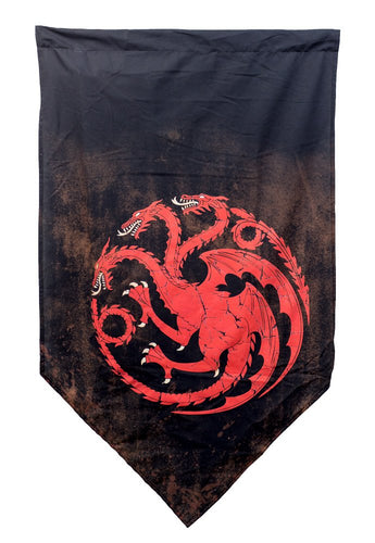 House Targaryen Battle Worn Wall Banner. Red and Black.