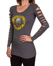 Load image into Gallery viewer, Ladies Guns N' Roses Distressed Logo Long Sleeve Cover Up Cut Shirt- Charcoal