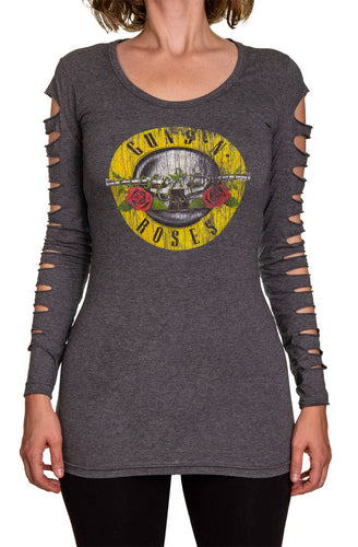 Guns N Roses Ladies Distressed Logo Long Sleeve Cover Up Cut Shirt- Charcoal