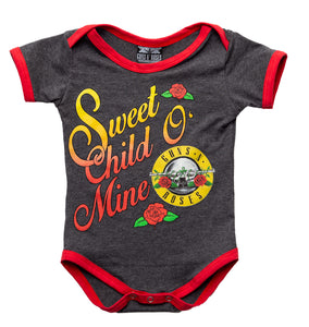 Guns N Roses Sweet Child O' Mine Baby Diaper Suit Romper- Charcoal