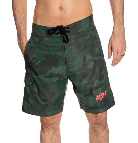 Detroit Red Wings Green Camo Boardshorts Front View