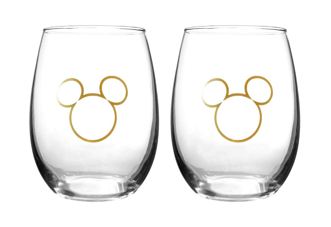 Disney Collectible Wine Glass Set-  90th Anniversary Limited Edition Mouse Ears