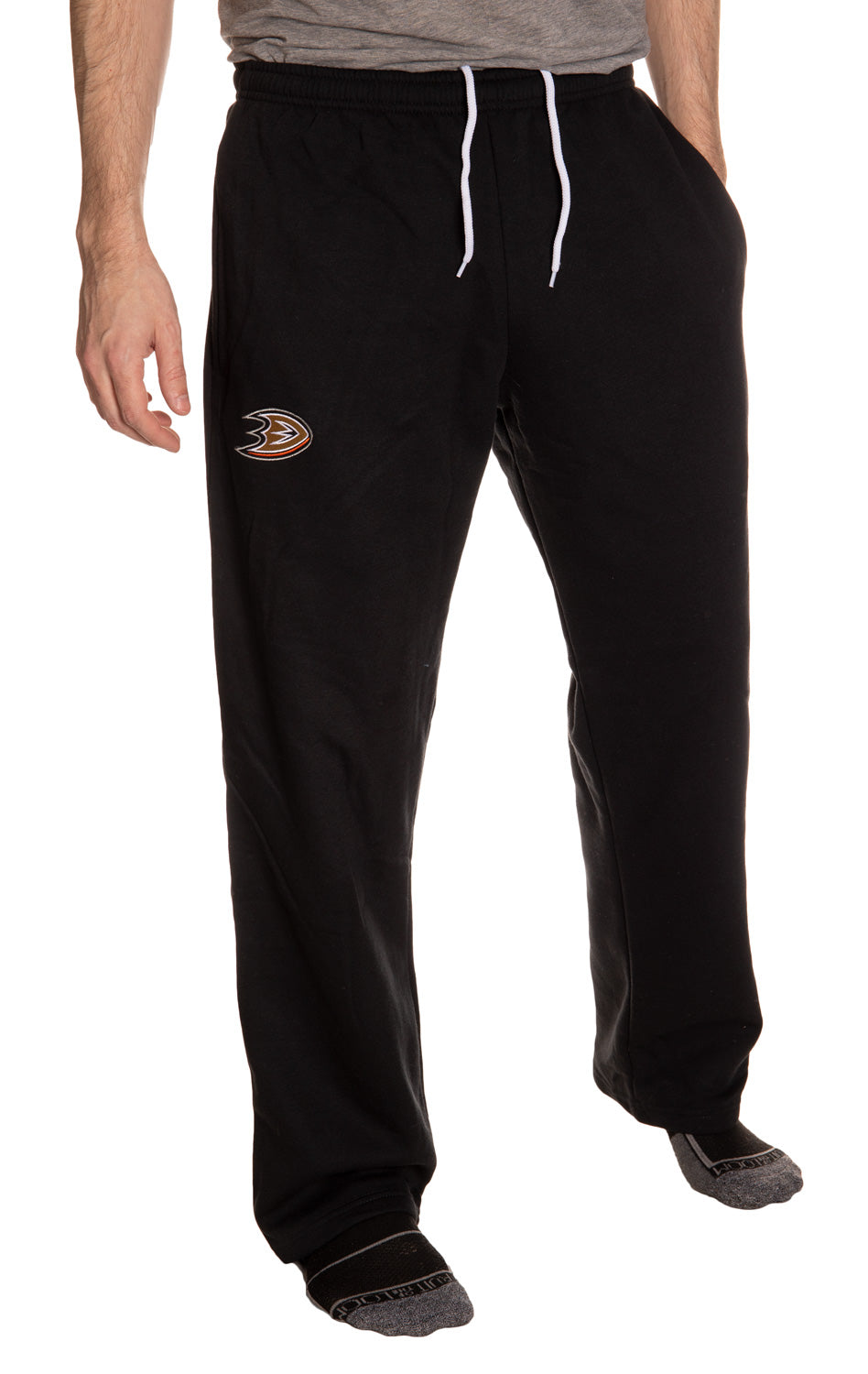 Anaheim Ducks Embroidered Logo Sweatpants for Men Hands in Pocket, Front View.