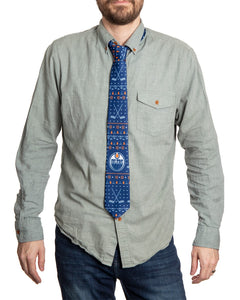 Edmonton Oilers Ugly Christmas Tie Modeled.