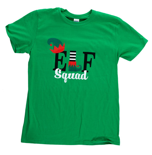 Elf Squad Unisex Christmas T-Shirt - bright green - laid flat