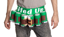 Load image into Gallery viewer, Elfed Up Beer Belt. Green and Brown Design.