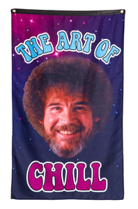 "Officially Licensed Bob Ross ""The Art Of Chill"" Banner With Large Bob Ross Smiling Face"