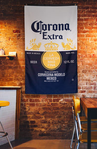 "Corona Indoor Wall Banner- Corona Label (30"" by 50"") Banner Hanging ON Brick Wall"