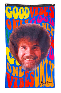 "Officially Licensed Bob Ross ""Good Vibes "" Banner With Smiling Bob Ross Face"