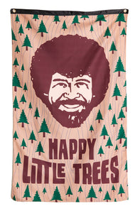 "Officially Licensed Bob Ross ""Happy Little Trees"" Banne With Smiling Bob Ross Face and Little Happy Trees"