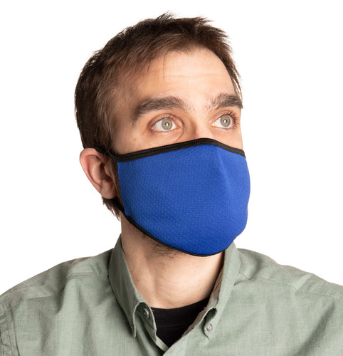 Royal Blue Air Mesh Face Mask Modeled