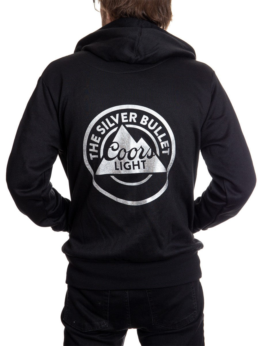 Mens Coors Light Silver Bullet Full Zip Hoodie Back Logo
