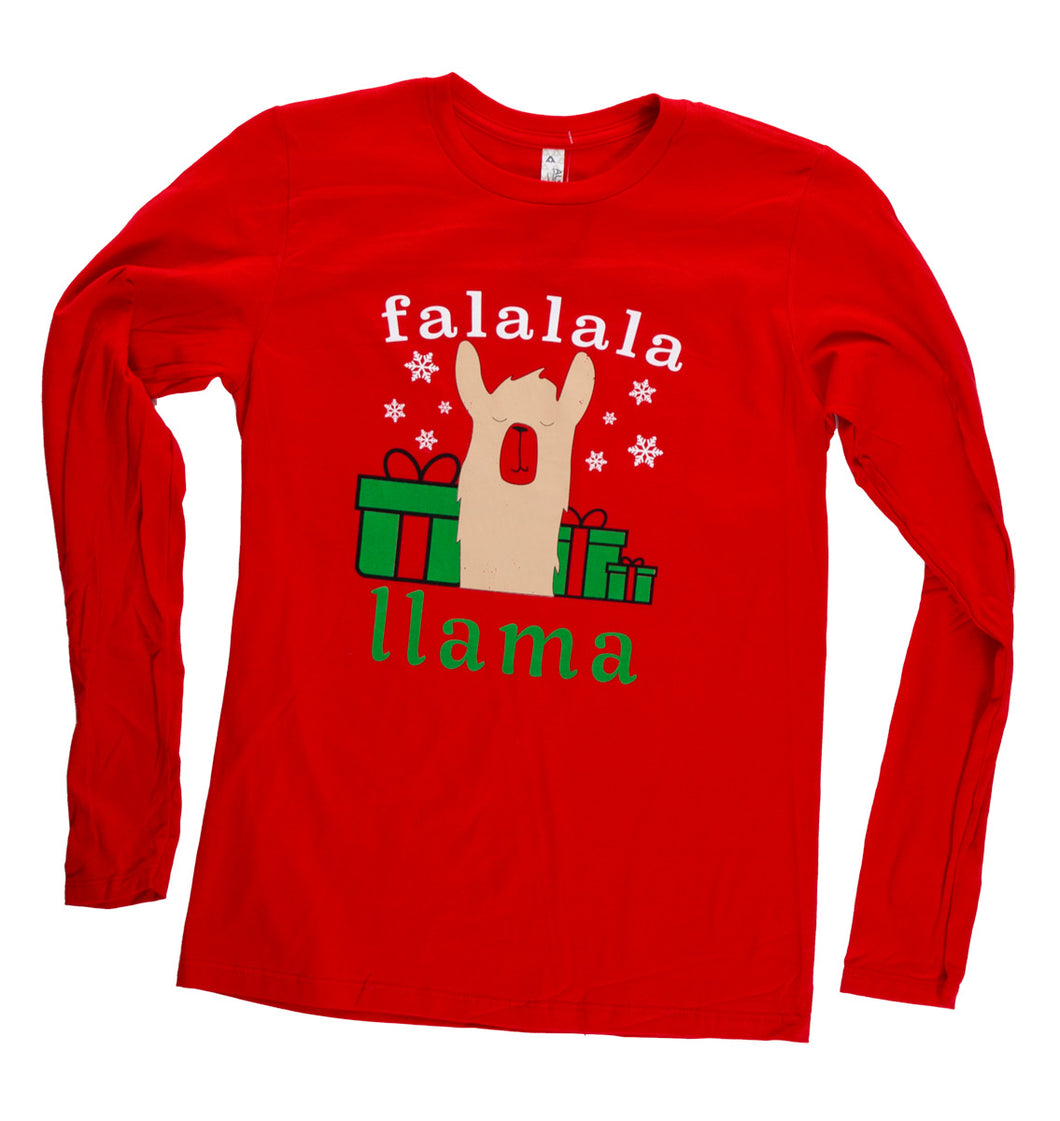 Falalala Lama Unisex Christmas Long Sleeve Laid out flat