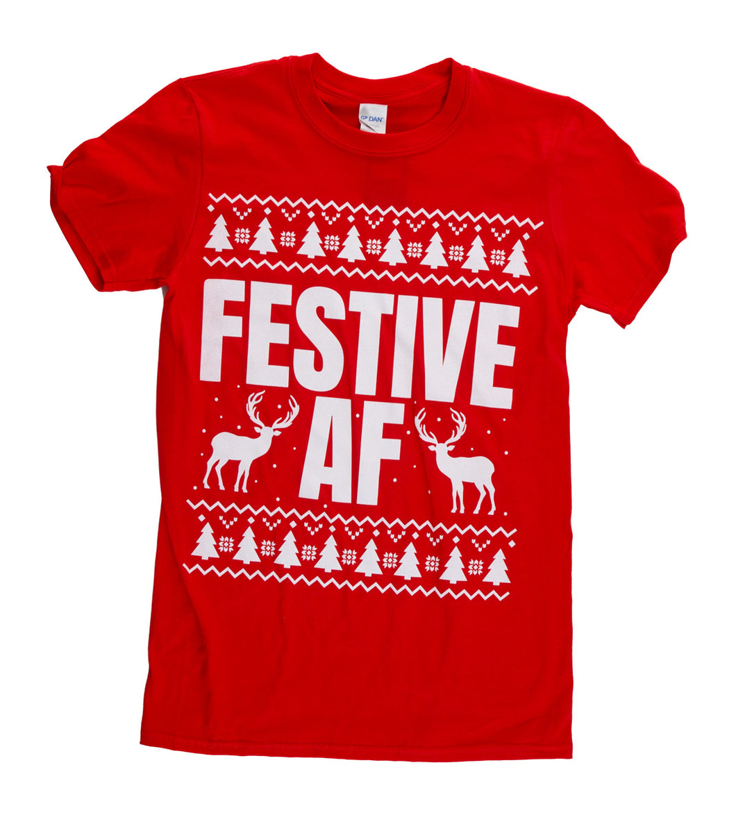Festive AF Unisex Christmas T-Shirt - Laid out flat - red