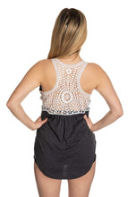 Load image into Gallery viewer, Boston Bruins Ladies Lace Tank Top Back View of Crochet Lace Tank