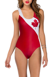 Ladies Canada Themed One Piece Swimsuit- Flag Print