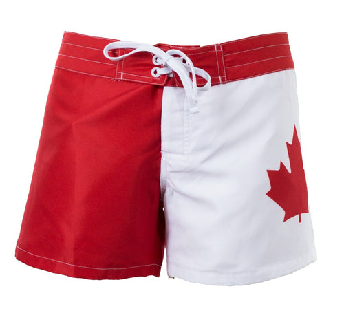 Ladies Canada Flag Boardshorts Front View