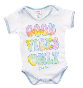 "Officially Licensed Bob Ross Baby Onesie ""Good Vibes Only"""
