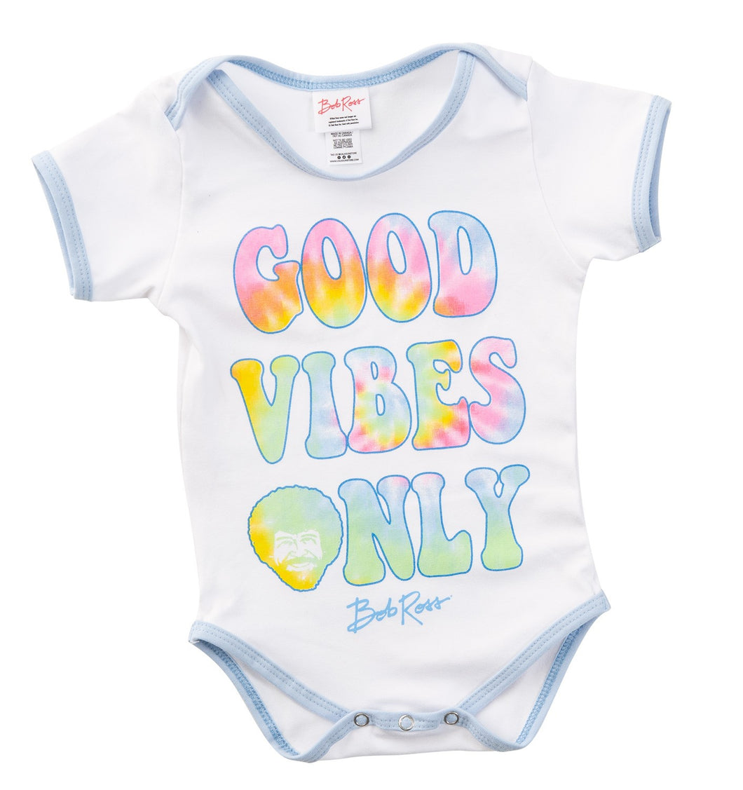 Good Vibes Only Bob Ross Onesie View From Front.