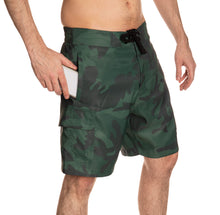 Load image into Gallery viewer, Dallas Stars Green Camo Boardshorts Side View.