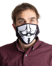 Load image into Gallery viewer, Guy Fawkes Pleated Face Mask, Modeled.