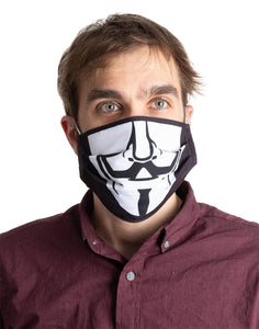 Guy Fawkes Pleated Face Mask, Modeled.