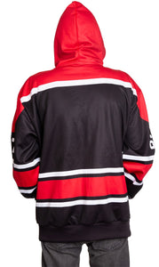 Canada Flag 1867 Pullover Hoodie Back View With Hood Up Being Worn