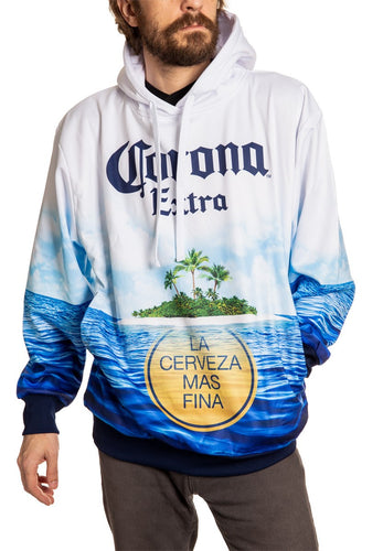 Mens Corona Extra Summer Can Hoodie Man Wearing Hoodie Full Front View