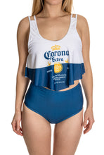 Load image into Gallery viewer, Corona Extra Label Flowy High Waist Bikini Close Up Front View.