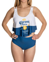Load image into Gallery viewer, Corona Extra Label Flowy High Waist Bikini Full Front View, Close Up.