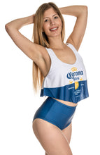 Load image into Gallery viewer, Corona Extra Label Flowy High Waist Bikini Side View.