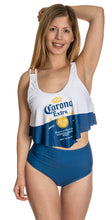 Load image into Gallery viewer, Corona Extra Label Flowy High Waist Bikini Full Front View.