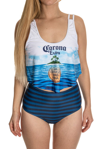 Corona Sunset Beach Flowy High Waist Bikini Front View.