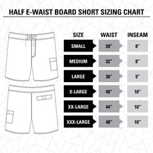 Load image into Gallery viewer, Lone Star Texas Boardshorts Size Guide.