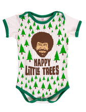 "Load image into Gallery viewer, Bob Ross Baby Diaper Suit  ""Happy Little Trees"" Front With Photo of Bob Ross Face"