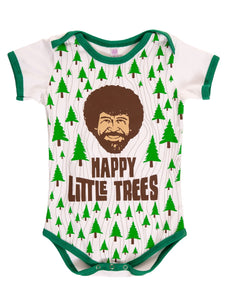 "Bob Ross Baby Diaper Suit  ""Happy Little Trees"" Front With Photo of Bob Ross Face"