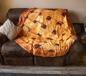 Realistic Apple Pie Blanket Lifestyle Photo.
