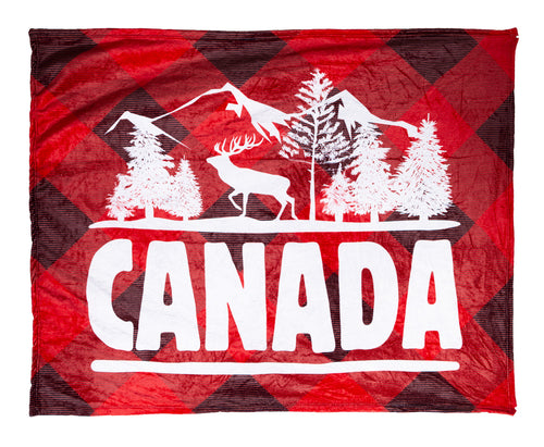 Canada Throw Blanket. Buffalo Plaid Design and White Wording.