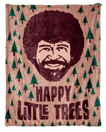 Bob Ross Happy Little Trees Lightweight Throw Blanket