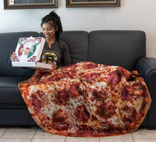 "Load image into Gallery viewer, Lifestyle Photo of Realistic Pizza 60"" Round Lightweight Fleece Blanket"