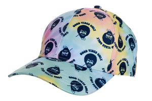 "Officially Licensed Bob Ross ""Good Vibes Only"" Tie Dye Ball Cap  Full Front View Of Ball Cap With Bob Ross Face Print All Over Cap"