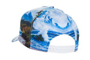 "Officially Licensed Bob Ross ""Mountain By The Sea"" Ball Cap - Available For Pre-Order  Full Back View Of Hat With White Snap Back Closure"
